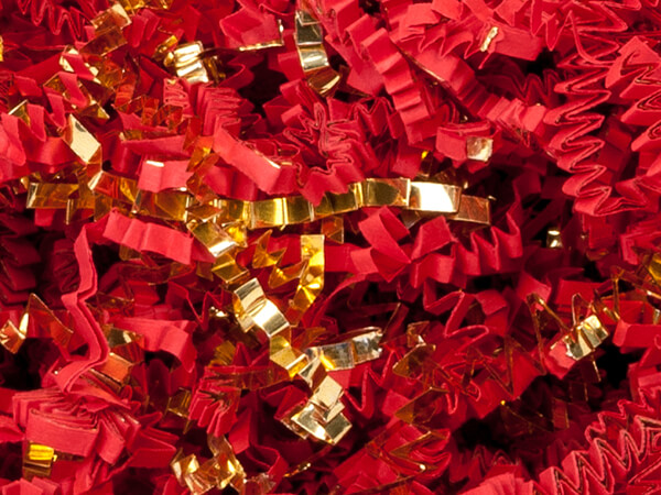 Red & Gold Crinkle Cut Shredded Paper, 10 lb Box