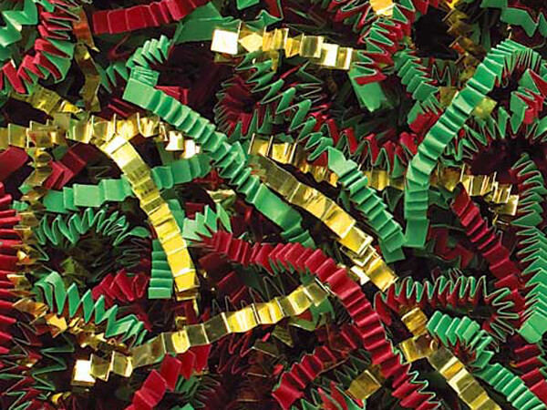 Red, Green & Gold Crinkle Cut Shredded Paper, 10 lb Box