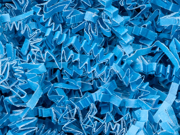 Sky Blue Crinkle Cut Shredded Paper, 10 lb Box