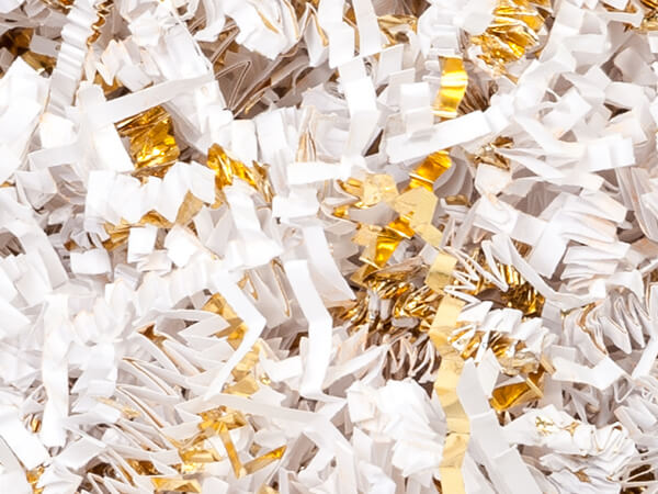 White & Gold Crinkle Cut Shredded Paper, 10 lb Box