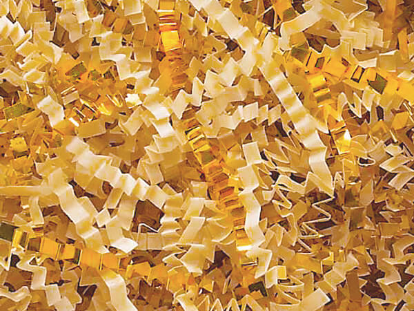 French Vanilla & Gold Crinkle Cut Shredded Paper, 40 lb Box