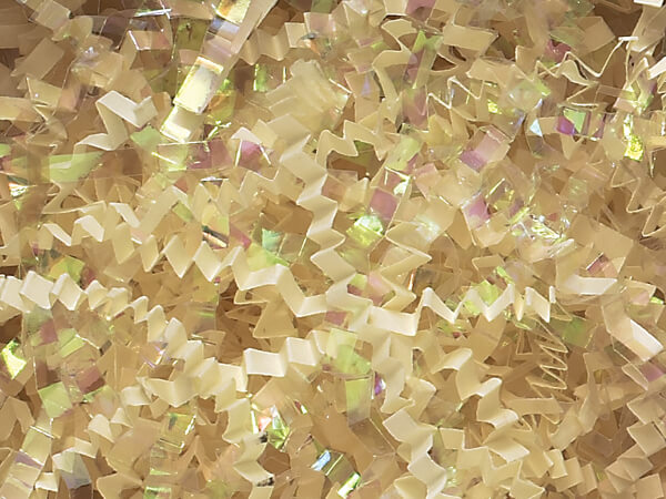 French Vanilla & Iridescent Crinkle Shredded Paper, 40 lb Box