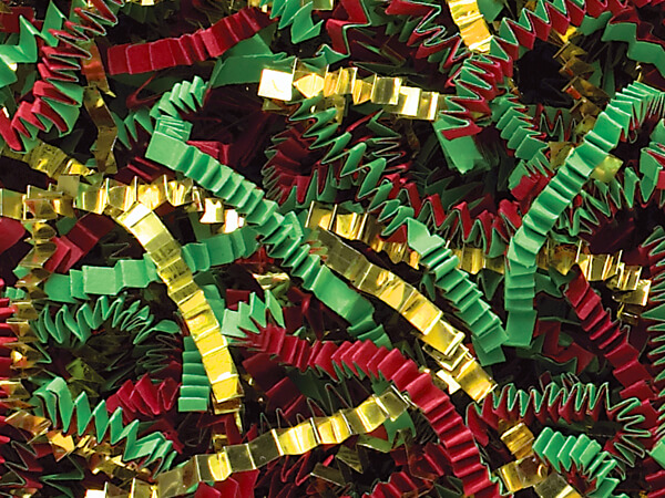 Red, Green & Gold Crinkle Cut Shredded Paper, 40 lb Box