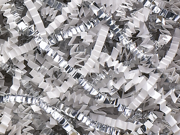 White & Silver Crinkle Cut™ Shred 40 lb  ~ Spring-fill® Shred