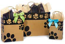 Paw Print Kraft Paper Shopping Bags