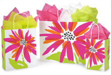 Brushed Floral Paper Shopping Bags