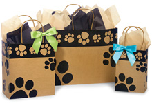 Nashville Wraps 100% Recycled Paw Print Kraft Bags
