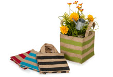 Burlap Stripe Reusable Bags