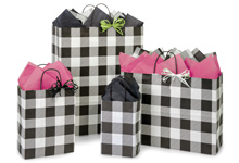 Nashville Wraps Black & White Buffalo Plaid Gift Bags