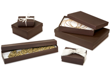Nashville Wraps Embossed Recycled Chocolate Kraft Jewelry Gift Boxes