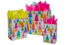 Golden Holiday Trees Paper Shopping Bags