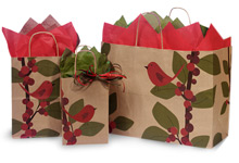 Nashville Wraps Red Bird Berries Recycled Kraft Paper Shopping Bags