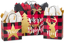 Nashville Wraps Buffalo Plaid Christmas Gift Bags