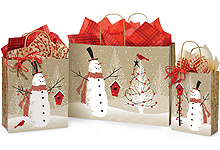Woodland Snowman Holiday Paper Shopping Bags