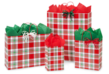 Christmas Plaid Shopping Bags