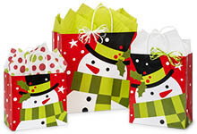 Frosted Snowman Paper Shopping Bags