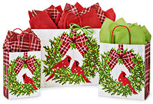 Christmas Plaid Cardinal Bags