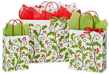 Holly Berry Greenery Paper Shopping Bags