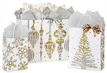 Mercury Glass Holiday Paper Shopping Bags