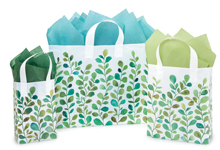Watercolor Greenery Plastic Shopping Bags