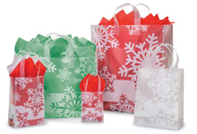 Snowflake Flurry Plastic Shopping Bags