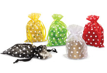 Nashville Wraps polka dot organza favor drawstring bag pouches