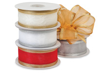 Nashville Wraps Brushed Metallic Edge Sheer Ribbon